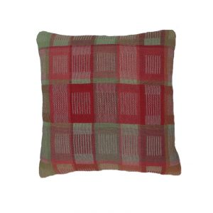 Grid I cushion in silk and wool